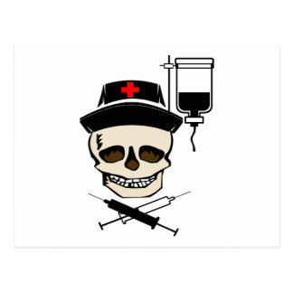 NURSE JOLLY ROGER PIRATE WITH IV BOTTLE POSTCARD