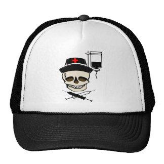 NURSE JOLLY ROGER PIRATE WITH IV BOTTLE TRUCKER HAT