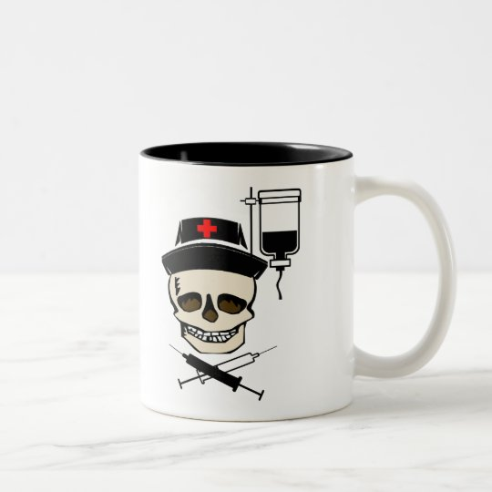 NURSE JOLLY ROGER PIRATE WITH IV BOTTLE Two-Tone COFFEE MUG