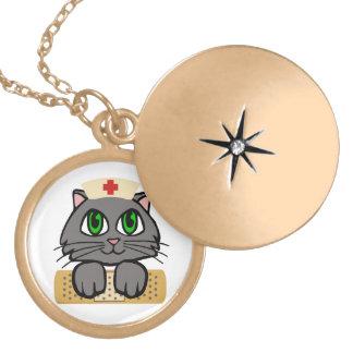 Nurse Kitten Round Locket Necklace