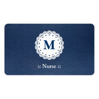 Nurse Lace Monogram Blue Pattern Double-Sided Standard Business Cards (Pack Of 100)