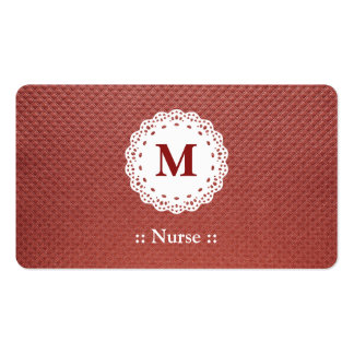 Nurse Lace Monogram Maroon Double-Sided Standard Business Cards (Pack Of 100)