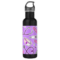 Nurse Love Pattern Purple Stainless Steel Water Bottle