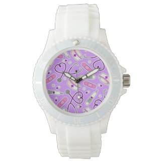 Nurse Love Pattern Purple Watches