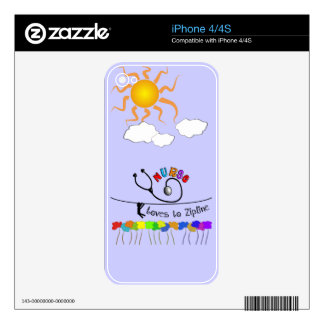 Nurse Loves to Zipline Gifts Decals For The iPhone 4