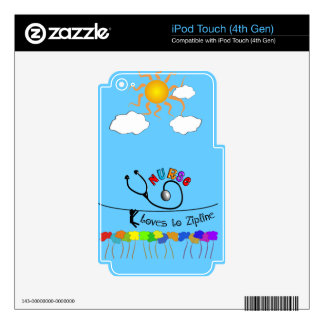 Nurse Loves to Zipline Gifts iPod Touch 4G Decal