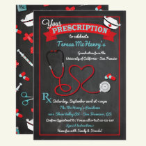Nurse Medical Graduation Heart Stethoscope Invite