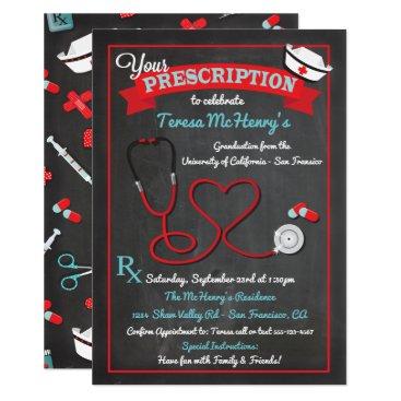 Valentines Themed Nurse Medical Graduation Heart Stethoscope Invite