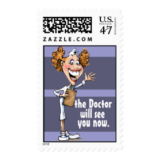 Nurse. Medical office. Reminder card Postage