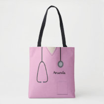 Nurse Medical Scrubs Pink AOPMT Tote Bag