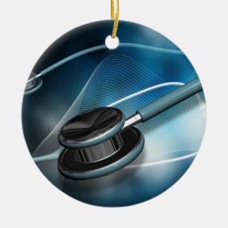 Nurse Medical Stethoscopes Double-Sided Ceramic Round Christmas Ornament