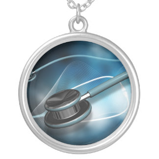 Nurse Medical Stethoscopes Silver Plated Necklace
