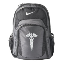 Nurse Medical White Caduceus Custom Nike Backpack