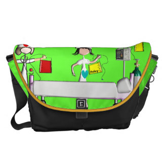 Nurse Messenger Bag Hospital Scene Lime Green