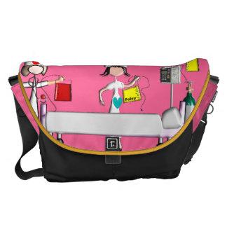 Nurse Messenger Bag Hospital Scene Pink
