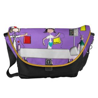 Nurse Messenger Bag Hospital Scene Purple