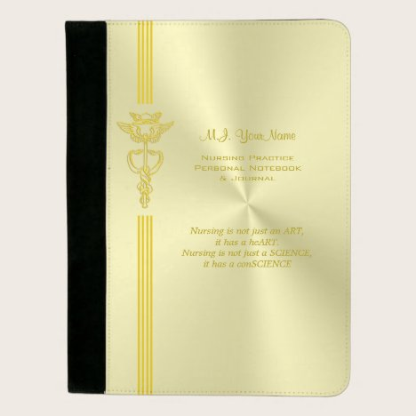 Nurse metallic-look design with golden caduceus padfolio