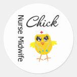 Nurse Midwife Chick v1 Round Sticker