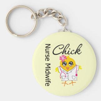 Nurse Midwife Chick v2 Basic Round Button Keychain