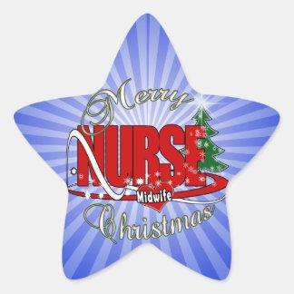 NURSE MIDWIFE CHRISTMAS STAR STICKER