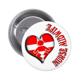 NURSE MIDWIFE HEART MEDICAL SYMBOL PINBACK BUTTON