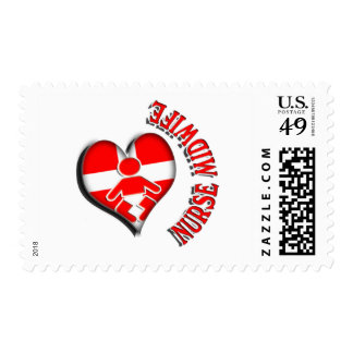 NURSE MIDWIFE HEART MEDICAL SYMBOL POSTAGE STAMPS