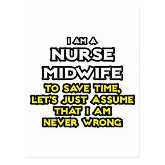 Nurse Midwife Joke .. Never Wrong Postcard