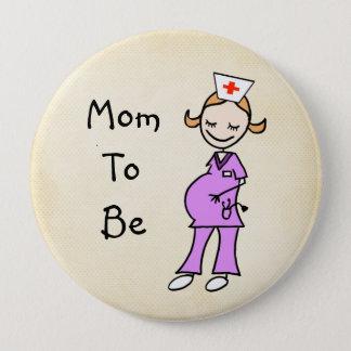Nurse Mom To Be, Beige Pinback Button