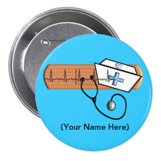 Nurse Name Badge (Add Your Name) BLUE 3 Inch Round Button