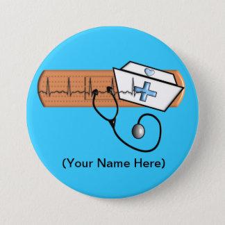 Nurse Name Badge (Add Your Name) BLUE Button