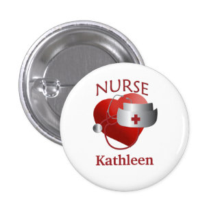 Nurse Name RN Round Heart Button