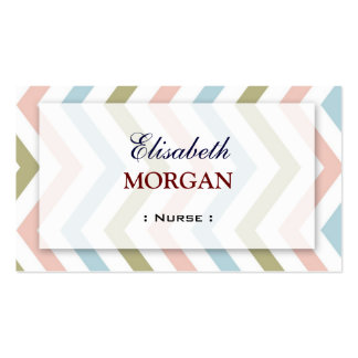 Nurse - Natural Graceful Chevron Business Card