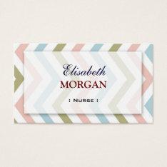 Nurse - Natural Graceful Chevron Business Card at Zazzle
