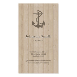 Nurse - Nautical Anchor Wood Double-Sided Standard Business Cards (Pack Of 100)
