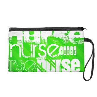 Nurse; Neon Green Stripes Wristlet Clutch
