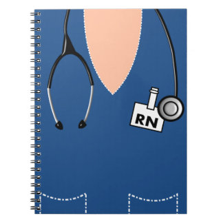 Nurse Notebook Scrub Top Design Blue