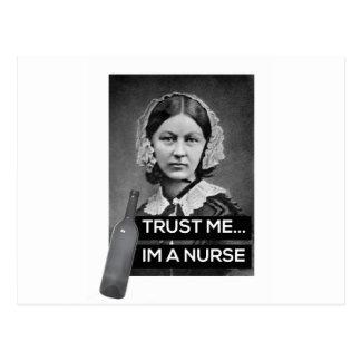 Nurse off duty products postcard