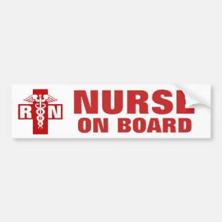 Nurse on Board RN or Initials Bumper Sticker