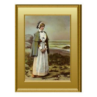 Nurse on the beach, c. 1900 postcard