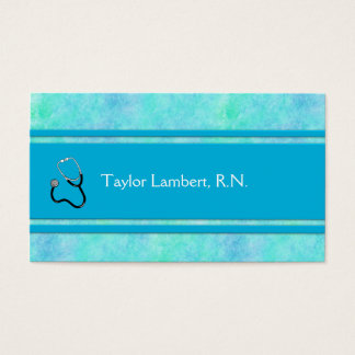 Nurse or Doctor or Medical Blue Watercolor Business Card