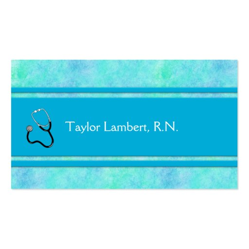 Nurse or Doctor or Medical Blue Watercolor Double-Sided Standard Business Cards (Pack Of 100)