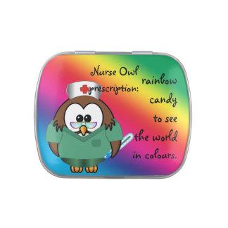 nurse owl candy tin