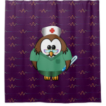 nurse owl - shower curtain