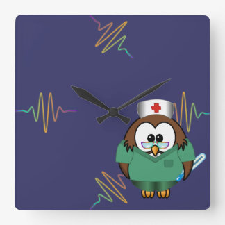 nurse owl square wall clock