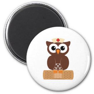 Nurse Owl (w/bandaid) 2 Inch Round Magnet