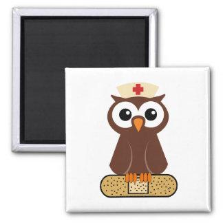 Nurse Owl (w/bandaid) 2 Inch Square Magnet