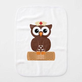 Nurse Owl (w/bandaid) Baby Burp Cloth