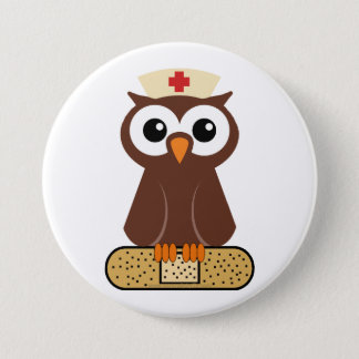 Nurse Owl (w/bandaid) Button