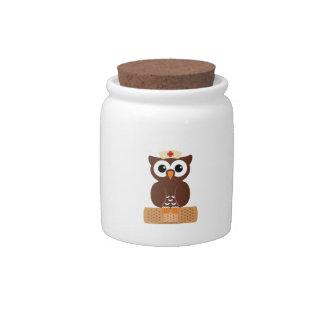 Nurse Owl (w/bandaid) Candy Jar