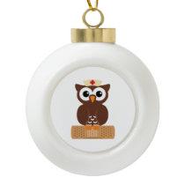 Nurse Owl (w/bandaid) Ceramic Ball Christmas Ornament